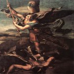 Raphael Sanzio (Italian: Raffaello) (1483 - 1520)  St. Michael Vanquishing Satan  Oil on canvas, 1518  268 cm × 160 cm (106 in × 63 in)  Louvre, Paris, France