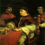 Raphael Sanzio (Italian: Raffaello) (1483 - 1520)  Pope Leo X with two cardinals  Oil on wood, 1518   154 x 119 cm (60 5/8 x 46 7/8 in)  Uffizi, Florence, Italy