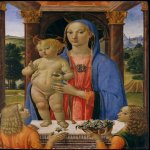 Cosimo Rosselli (Italian, Florentine, 1440-1507)  Madonna and Child with Angels  Tempera and gold on wood, 1480–82  33 1/2 x 23 in. (85.1 x 58.4 cm)  The Friedsam Collection, Bequest of Michael Friedsam