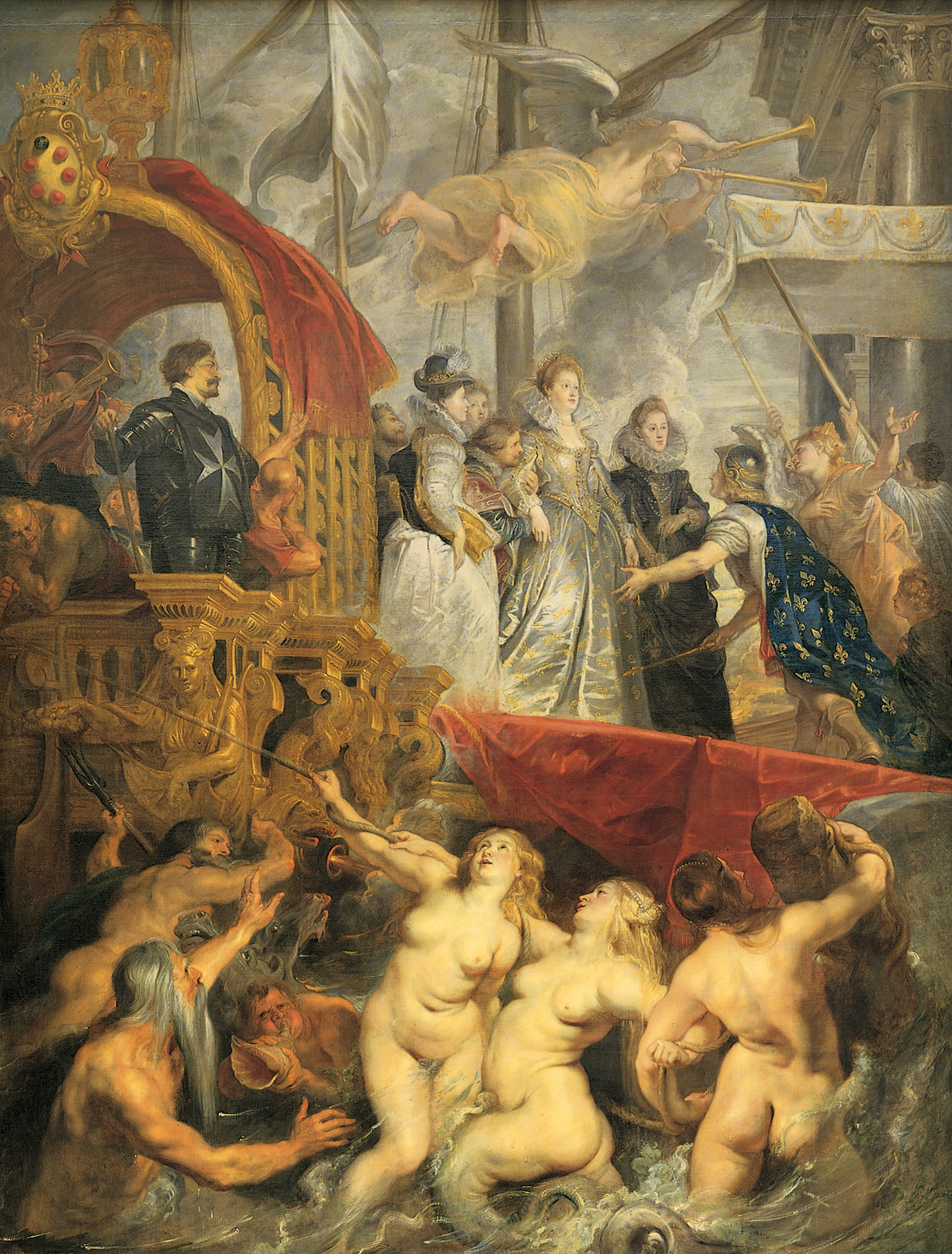 Peter Paul Rubens (1577 – 1640)  The Landing of Marie de' Médici at Marseilles  Oil on canvas, 1623-1625  155 x 116 1/8 inches (394 x 295 cm)  Musée du Louvre, Paris, France