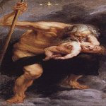 Peter Paul Rubens (1577 – 1640)  Saturn, Jupiter's father, devours one of his sons, Poseidon  (steam for the painting