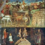 Cosimo Tura or Cosmè Tura(c. 1430 – 1495)  Allegory of May  1469-1470  Fresco, width: 400 cm  Hall of the Months, Palazzo Schifanoia, Ferrara, Italy