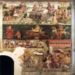 Cosimo Tura or Cosmè Tura(c. 1430 – 1495)  Allegory of April  1469-1470  Fresco, width: 400 cm  Hall of the Months, Palazzo Schifanoia, Ferrara, Italy