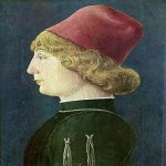 Cosimo Tura or Cosmè Tura(c. 1430 – 1495)  Young Man  about 1450-1452  Oil with egg tempera on panel, 116.2 x 71.1 cm  National Gallery, London, UK