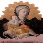 Francesco Squarcione (1397-1468)  The Madonna and Child  Tempera and gold on panel  23.3 x 17.9 in. / 59.3 x 45.4 cm  Private Collection