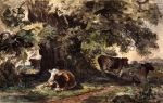 Ivan Ivanovich Shishkin (1832 – 1898)   A herd of cows on vacation.   Oil on canvas, 1862-1864   12.3 x19, 6 cm