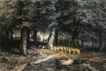 Ivan Ivanovich Shishkin (1832 – 1898)   A herd of sheep in the forest.   Paper, ink, pen  36 x 53 cm