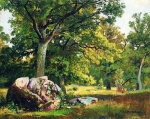 Ivan Ivanovich Shishkin (1832 – 1898)   A sunny day in the woods. Oaks.    Oil on canvas, 1891  30 x 37 cm