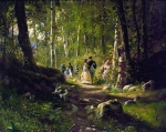 Ivan Ivanovich Shishkin (1832 – 1898)   A walk in the woods.   Oil on canvas, 1869   34.3 x 43.3 cm