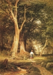 Ivan Ivanovich Shishkin (1832 – 1898)   A woman with a boy in the woods    Paper, pen, ink, watercolor, paint, 1868   43.8 x 31.6 cm