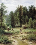 Ivan Ivanovich Shishkin (1832 – 1898)   Apiary in the woods.   Oil on canvas, 1876   ​​80 x 64 cm