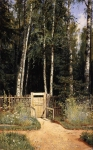 Ivan Ivanovich Shishkin (1832 – 1898)   At the gate. Siverskaya   Oil on canvas, 1874-1883  55.7 x 34.6 cm