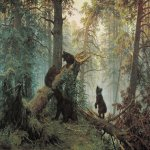Ivan Ivanovich Shishkin (1832 � 1898)   Morning in a Pine Forest  Oil on canvas, 1889  139�213 cm  The State Tretyakov Gallery, Moscow, Russia