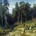 Ivan Ivanovich Shishkin (1832 – 1898)   Pine Forest in Viatka Province.  Oil on canvas, 1872  17x165 cm  The State Tretyakov Gallery, Moscow, Russia