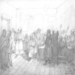 Taras Hryhorovych Shevchenko (1814 - 1861)   Cossack banquet  Pencil on paper, December 25, 1838  23,3 × 34 см  State Shevchenko Museum, Kyiv, Ukraine