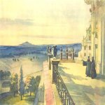 Taras Hryhorovych Shevchenko (1814 - 1861)   A view  the terrace on the Pochaevskiy utskirts  Watercolor on paper, 1846  28,7 × 37,7 cm  State Shevchenko Museum, Kyiv, Ukraine