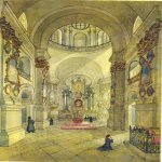 Taras Hryhorovych Shevchenko (1814 - 1861)   Cathedral Pochaevskoy outskirts (internal view)  Watercolor on paper, 1846  37,6 × 28,4 cm  State Shevchenko Museum, Kyiv, Ukraine