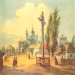 Taras Hryhorovych Shevchenko (1814 - 1861)   Pochaevskiy monastery on the west  Watercolor on paper, 1846  28,2 × 37,8 cm  State Shevchenko Museum, Kyiv, Ukraine