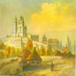 Taras Hryhorovych Shevchenko (1814 - 1861)   Pochaevskiy monastery  the south  Watercolor on paper, 1846  28,9 × 37,8 cm  State Shevchenko Museum, Kyiv, Ukraine