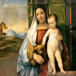 Titian Vecelli (Pieve di Cadore, 1490 - Venice, 1576)  Gipsy Madonna  Oil on panel,about 1510  66 x 84 cm  Kunsthistorisches Museum, Vienna,  Austria