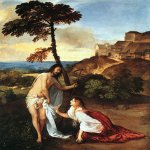 Titian Vecelli (Pieve di Cadore, 1490 - Venice, 1576)  Noli Me Tangere  Oil on canvas, 1511-1512  101 x 91 cm  National Gallery, London, UK
