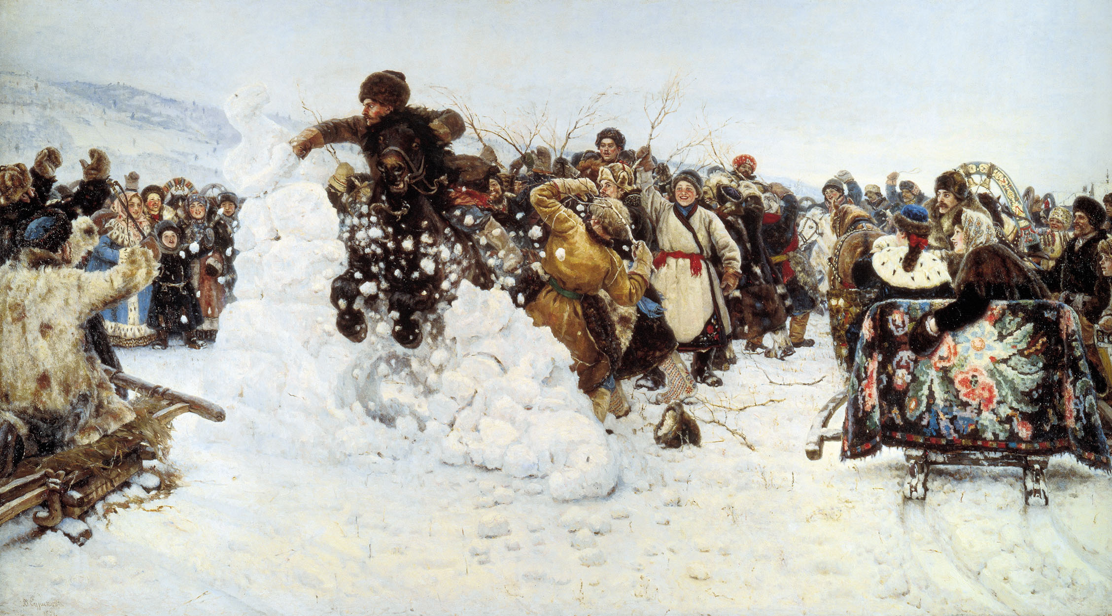 Vasily Ivanovich Surikov (1848 - 1916)  Storm of Snow Fortress  Oil on canvas, 1891   156 x 282 cm  The Russian Museum, St. Petersburg, Russia