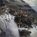 Vasily Ivanovich Surikov (1848 - 1916)  Russian Troops under Suvorov Crossing the Alps in 1799  Oil on canvas, 1899  495 x 373  cm  The Russian Museum, St. Petersburg, Russia