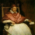 Diego Rodríguez de Silva y Velázquez (1599 � 1660)   Portrait of Innocent X  Oil on canvas, 	c. 1650  114 cm × 119 cm (45 in × 47 in)  Galleria Doria Pamphili, Rome, Italy