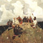 Vasnetsov Viktor Mikhailovich (1848 — 1926)  Bayan. Sketch, 1880  Oil on canvas  State Historical and Art Museum-Reserve Abramtsevo, Moscow Region, Russia