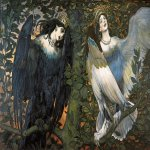 Vasnetsov Viktor Mikhailovich (1848 — 1926)  Sirin and Alkonost; The Birds of Joy and Sorrow, 1896  Oil on canvas  133x250 cm  The State Tretyakov Gallery, Moscow, Russia