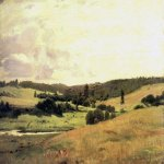 Vasnetsov Viktor Mikhailovich (1848 — 1926)  The valley of the river near the village Vori verticil, landscape with children. 1880  Oil on canvas  Museum of V.M. Vasnetsov, Moscow, Russia