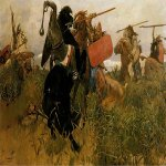 Vasnetsov Viktor Mikhailovich (1848 — 1926)  Fight of Scythians and Slavs, 1881  Oil on canvas   The Russian Museum, St. Petersburg, Russia
