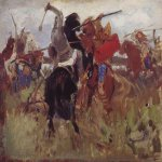 Vasnetsov Viktor Mikhailovich (1848 � 1926)  Fight of Scythians and Slavs (sketch), 1879  Oil on canvas  The State Tretyakov Gallery, Moscow, Russia