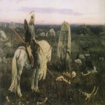 Vasnetsov Viktor Mikhailovich (1848 — 1926)  A Knight at the Crossroads, 1878  Firs version the painting «A Knight at the Crossroads» 1882  Oil on canvas  Serpukhov Art and Historical Museum, Serpukhov, Russia