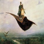 Vasnetsov Viktor Mikhailovich (1848 � 1926)  Flying Carpet, 1880  Oil on canvas  165x297 cm  Art Museum of Nizhny Novgorod, Nizhny Novgorod, Russia
