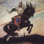 Vasnetsov Viktor Mikhailovich (1848 � 1926)  Knightly Galloping, 1914  Oil on canvas  The Victor Vasnetsov Memorial Museum, Moscow. Russia