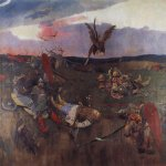Vasnetsov Viktor Mikhailovich (1848 — 1926)  After Igor Svyatoslavich's fighting with the Polovtsy, 1880-1890   The second sketch for the painting