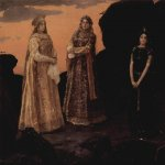 Vasnetsov Viktor Mikhailovich (1848 — 1926)  Three queens of the underground kingdom, 1880-1881  Oil on canvas  152.7×165.2 cm  The State Tretyakov Gallery, Moscow, Russia