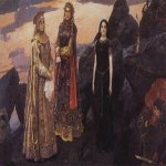 Vasnetsov Viktor Mikhailovich (1848 — 1926)  Three queens of the underground kingdom, 1884  Oil on canvas  164×297 cm  The Russian Museum, St. Petersburg, Russia