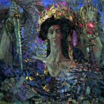 Mikhail Vrubel (1856-1910)  Six winged Seraphim (Azrail)  Oil on canvas, 1904  131x155 cm  The State Russian Museum, St. Petersburg, Russia