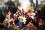 "Franz Xavier Winterhalter (1805-1873) The Decameron Oil on canvas, 1837 254 x 190.5 cm (8\' 4"" x 6\' 3\"") Private collection"