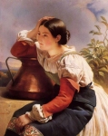 Franz Xavier Winterhalter (1805-1873) Young Italian Girl by the Well Oil on canvas Private collection