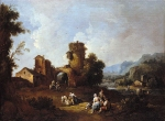 Giuseppe Zais (March 22, 1709  October 29, 1784) Landscape with a Ruined Tower probably 176080 Oil on canvas 70.2 x 95.9 cm National Gallery, London, UK