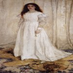 James Abbott McNeill Whistler (1834–1903)  Symphony in White, No. 1: The White Girl   Oil on canvas, 1862  215 cm × 108 cm (84.5 in × 42.5 in)  he National Gallery of Art, Washington, D.C., USA
