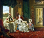 Johan Zoffany, Zoffani or Zauffelij (13 March 1733 – 11 November 1810) Queen Charlotte with her Two Eldest Sons Oil on canvas, 1765 112.2 × 128.3 cm (44.2 × 50.5 in) Royal Collection, London, UK