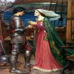 John William Waterhouse (6 April 1849 — 10 February 1917)  Tristan and Isolde with the Potion  Oil on canvas, circa 1916  43 x 32 in  Private collection
