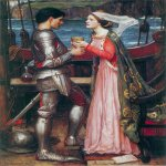 John William Waterhouse (6 April 1849 — 10 February 1917)  Tristan and Isolde  Oil on canvas, 1916  43 x 32 in  Private collection