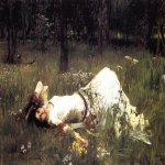 John William Waterhouse (6 April 1849 — 10 February 1917)  Ophelia  Oil on canvas, 1889  38.5 x 62 in  Private collection