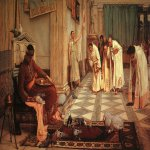 John William Waterhouse (6 April 1849 — 10 February 1917)  The Favorites of the Emperor Honorius  Oil on canvas, 1883  117 x 202 cm  Art Gallery of South Australia, Adelaide, South Australia, Australia