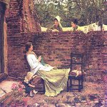 John William Waterhouse (6 April 1849 — 10 February 1917)  Good Neighbours  Oil on canvas, 1885  69 x 60 cm  Private collection